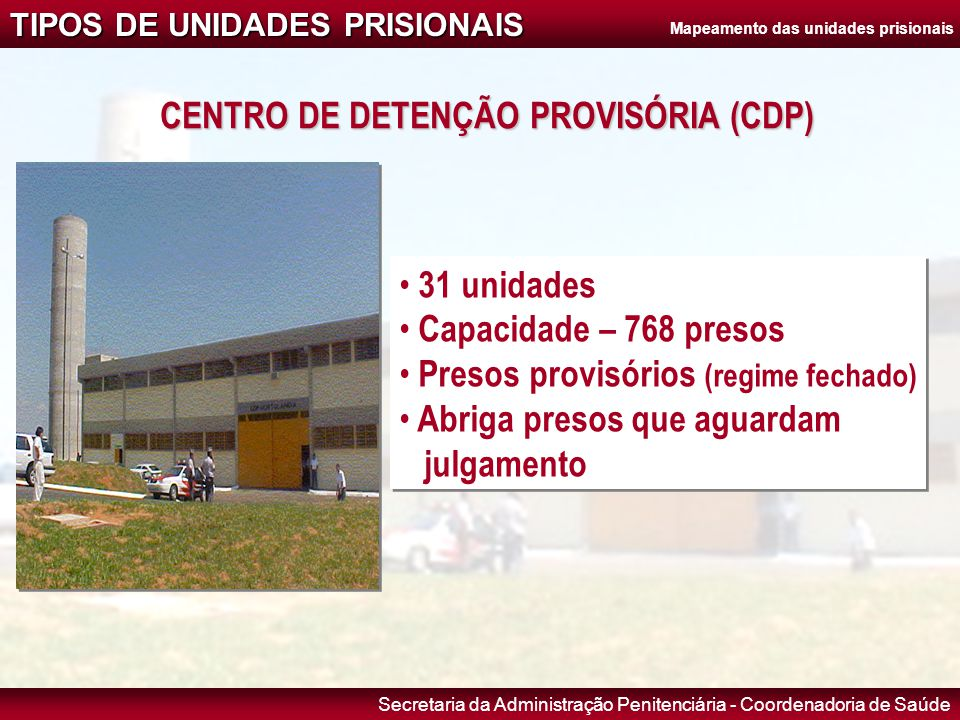 Mapeamento das unidades prisionais CENTRO DE DETENÇÃO PROVISÓRIA (CDP)