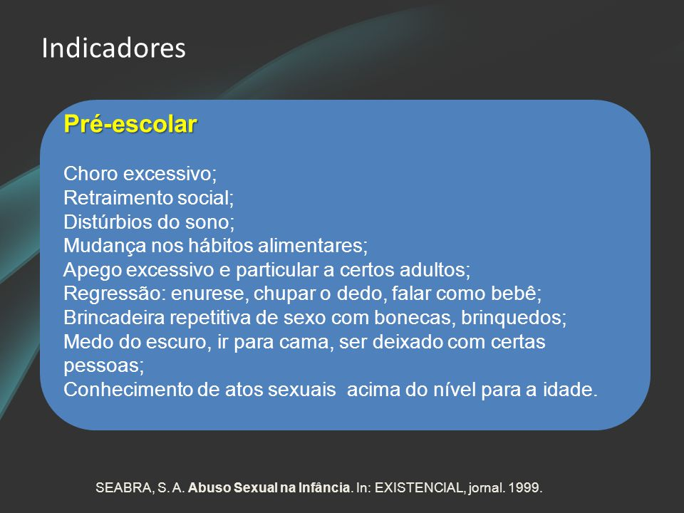 Indicadores Pré-escolar Choro excessivo; Retraimento social;