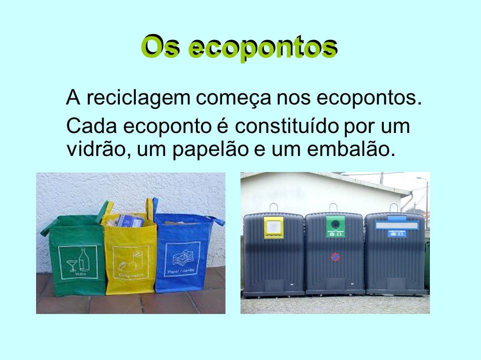 Os ecopontos Os ecopontos A reciclagem começa nos ecopontos.