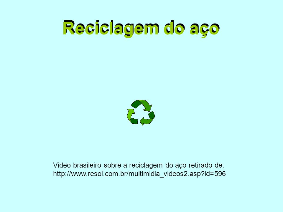 Reciclagem do aço Reciclagem do aço