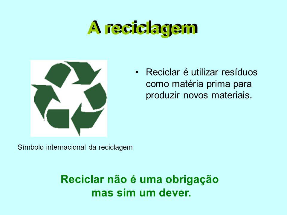Reciclar não é uma obrigação