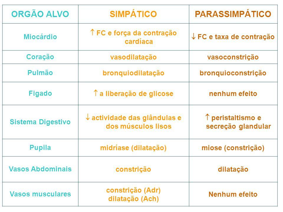 ORGÃO ALVO SIMPÁTICO PARASSIMPÁTICO