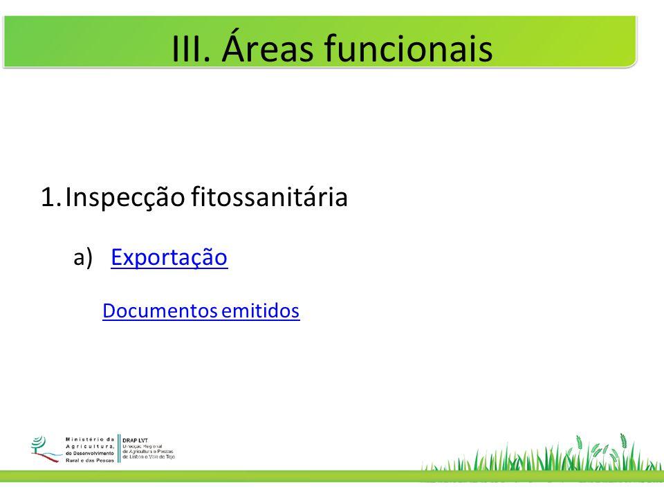III. Áreas funcionais Inspecção fitossanitária Exportação