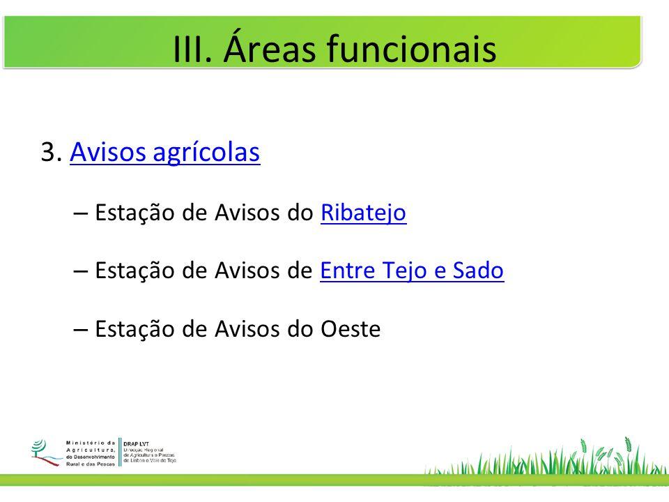 III. Áreas funcionais 3. Avisos agrícolas