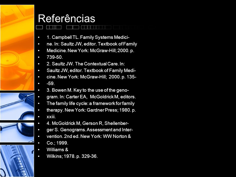 Referências 1. Campbell TL. Family Systems Medici-