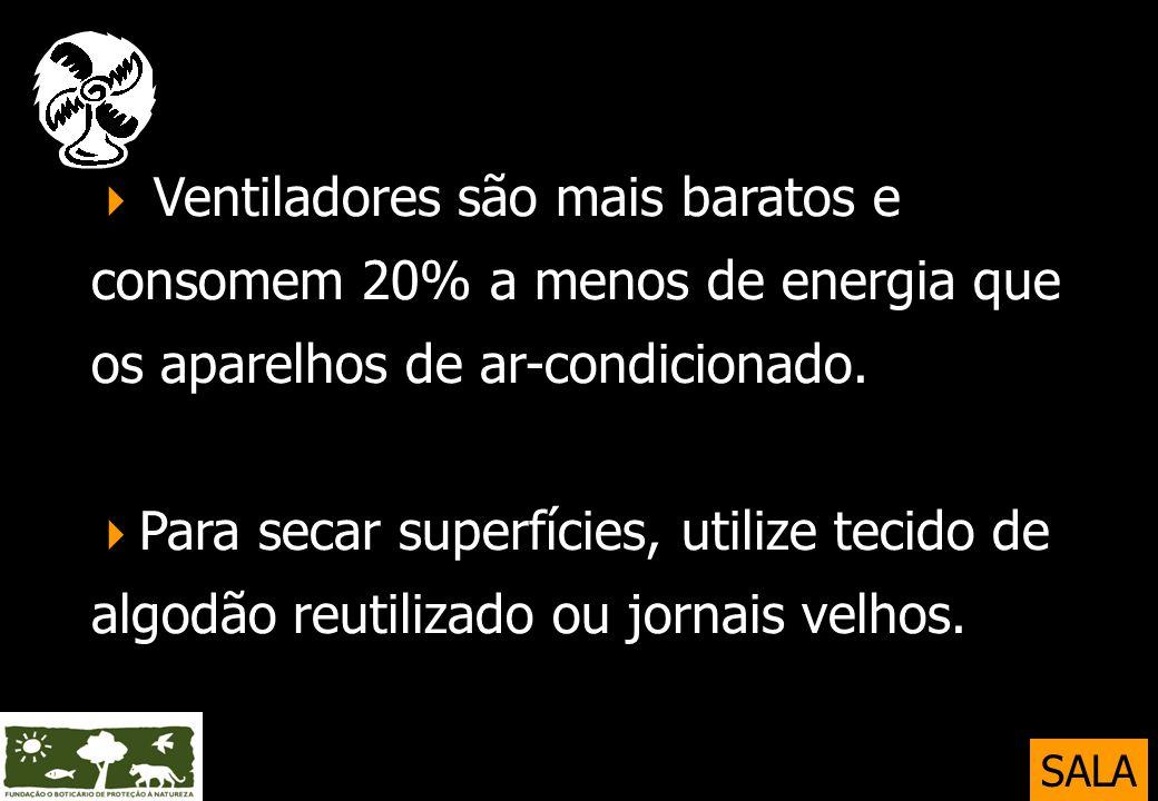  Ventiladores são mais baratos e consomem 20% a menos de energia que os aparelhos de ar-condicionado. Para secar superfícies, utilize tecido de algodão reutilizado ou jornais velhos.