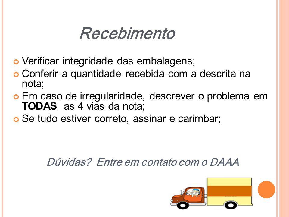Dúvidas Entre em contato com o DAAA