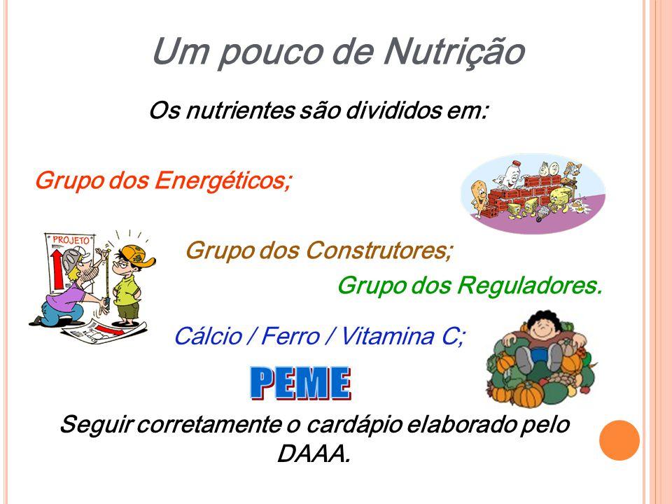 Um pouco de Nutrição PEME Os nutrientes são divididos em: