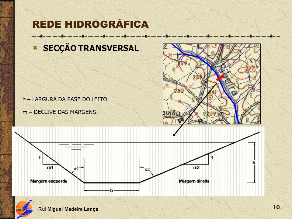 REDE HIDROGRÁFICA SECÇÃO TRANSVERSAL b – LARGURA DA BASE DO LEITO