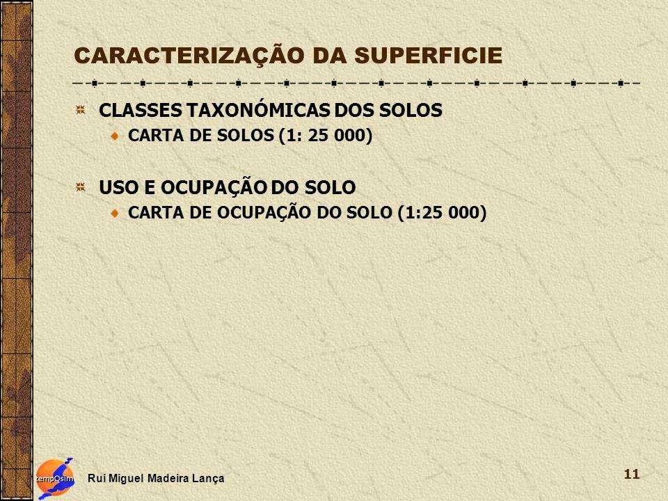 CARACTERIZAÇÃO DA SUPERFICIE