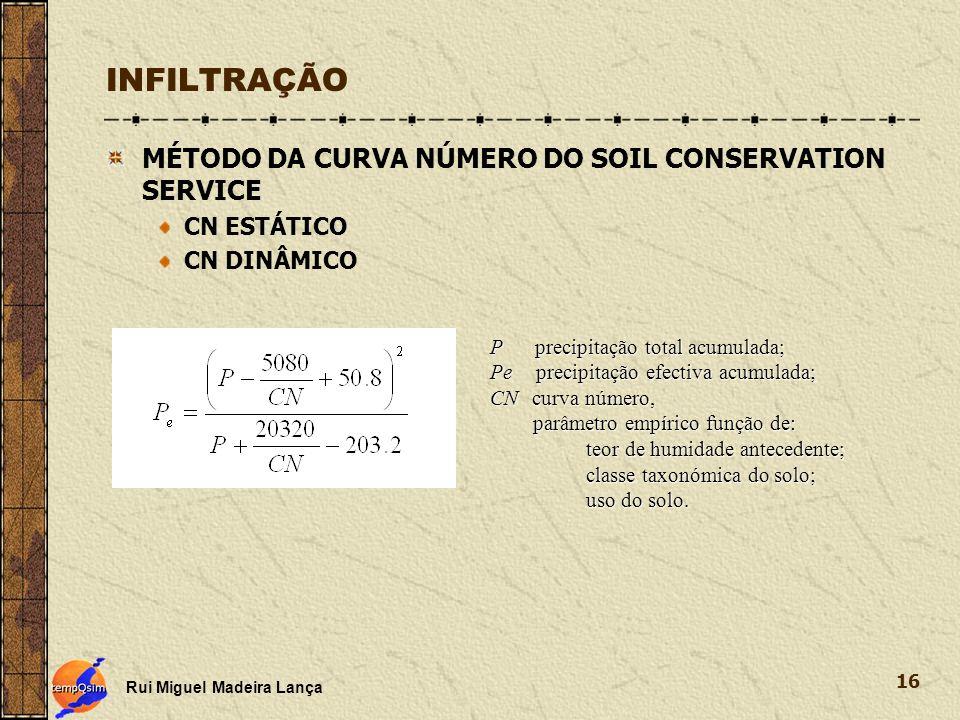 INFILTRAÇÃO MÉTODO DA CURVA NÚMERO DO SOIL CONSERVATION SERVICE