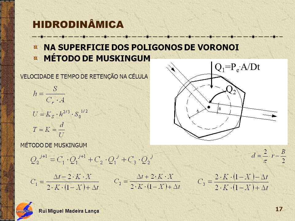 HIDRODINÂMICA Q1=Pe.A/Dt Q2 NA SUPERFICIE DOS POLIGONOS DE VORONOI