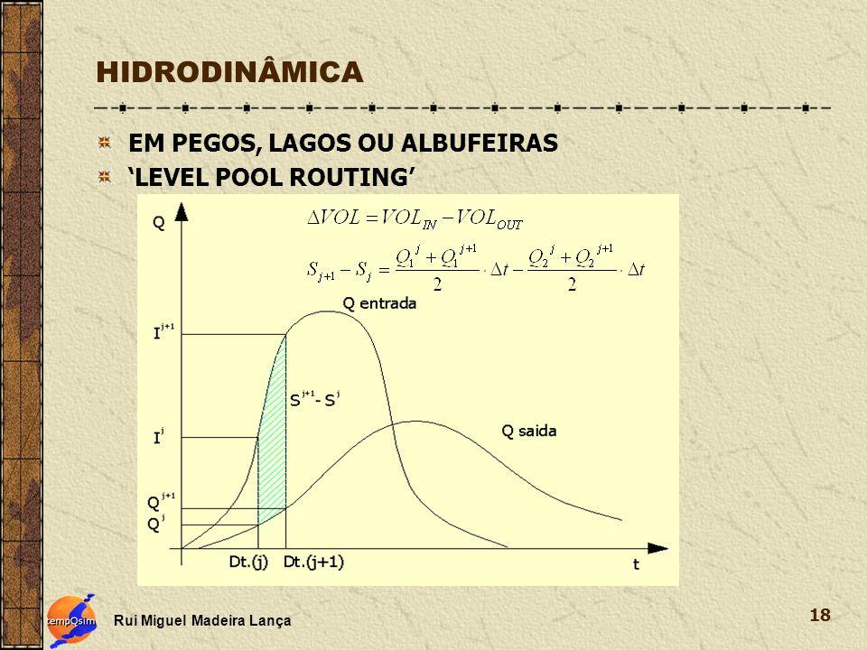 HIDRODINÂMICA EM PEGOS, LAGOS OU ALBUFEIRAS 'LEVEL POOL ROUTING'