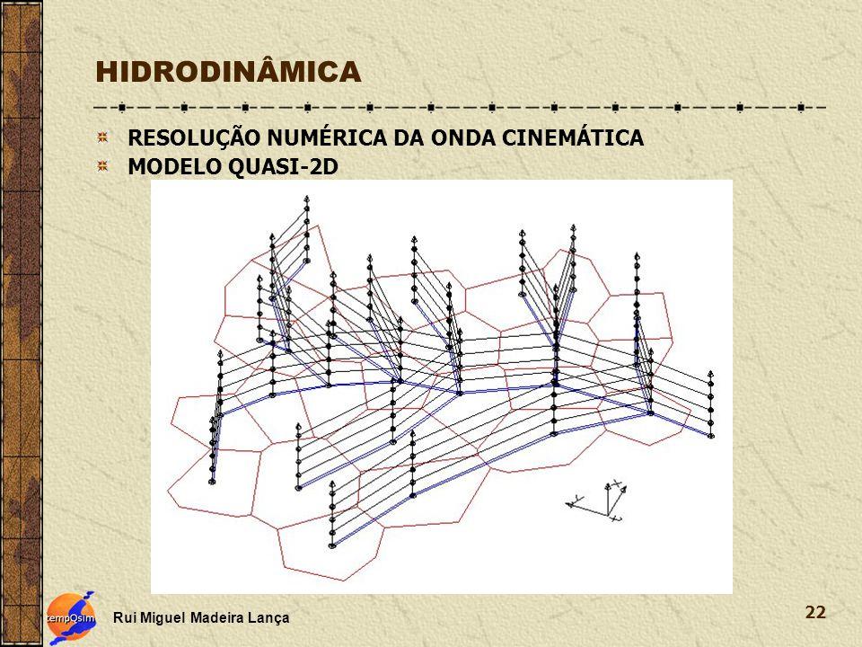 HIDRODINÂMICA RESOLUÇÃO NUMÉRICA DA ONDA CINEMÁTICA MODELO QUASI-2D