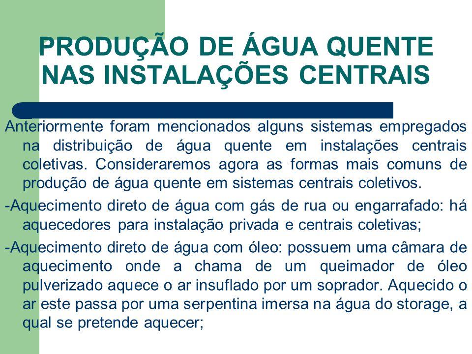 PRODUÇÃO DE ÁGUA QUENTE NAS INSTALAÇÕES CENTRAIS