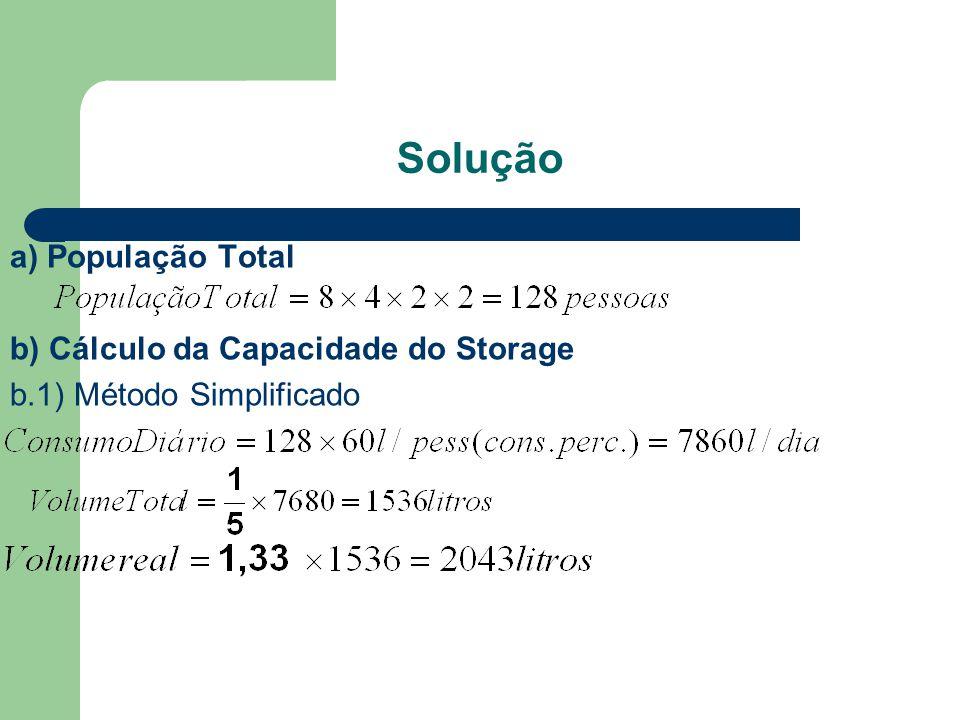 Solução a) População Total b) Cálculo da Capacidade do Storage