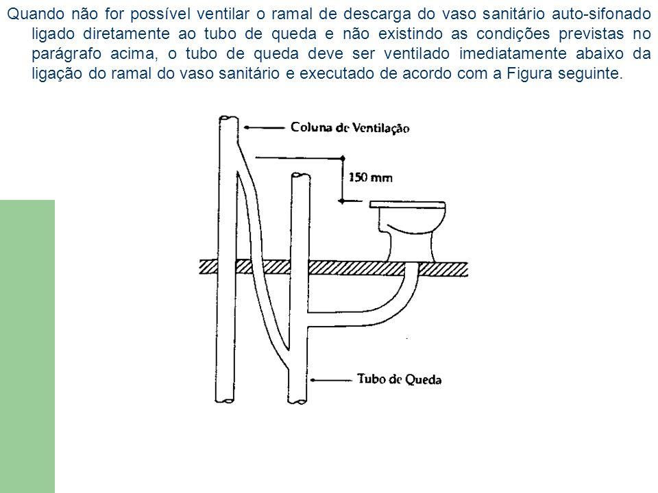 Quando não for possível ventilar o ramal de descarga do vaso sanitário auto-sifonado ligado diretamente ao tubo de queda e não existindo as condições previstas no parágrafo acima, o tubo de queda deve ser ventilado imediatamente abaixo da ligação do ramal do vaso sanitário e executado de acordo com a Figura seguinte.