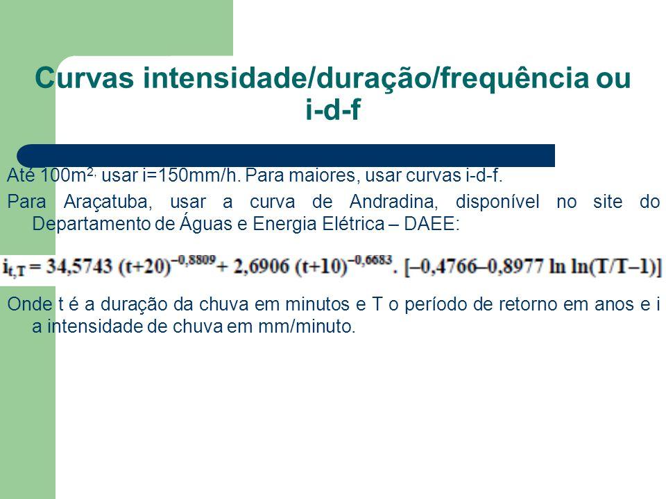 Curvas intensidade/duração/frequência ou i-d-f