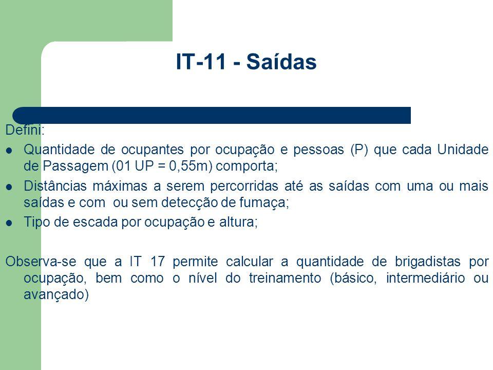 IT-11 - Saídas Defini: Quantidade de ocupantes por ocupação e pessoas (P) que cada Unidade de Passagem (01 UP = 0,55m) comporta;