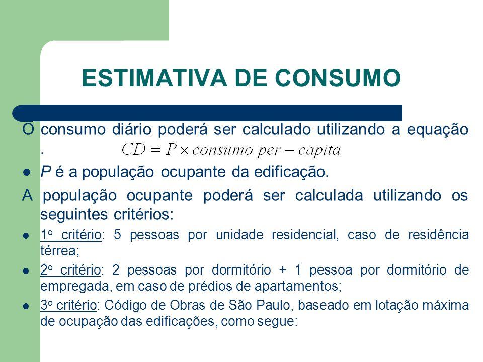 Estimativa de Consumo O consumo diário poderá ser calculado utilizando a equação .