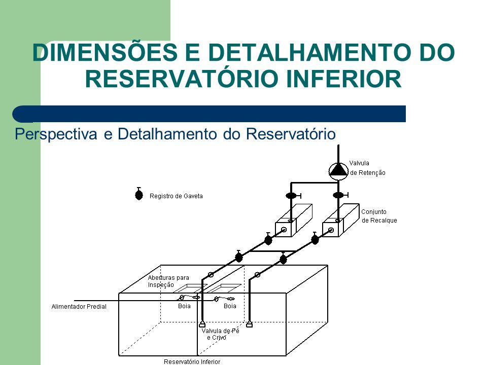 DIMENSÕES E DETALHAMENTO DO RESERVATÓRIO INFERIOR