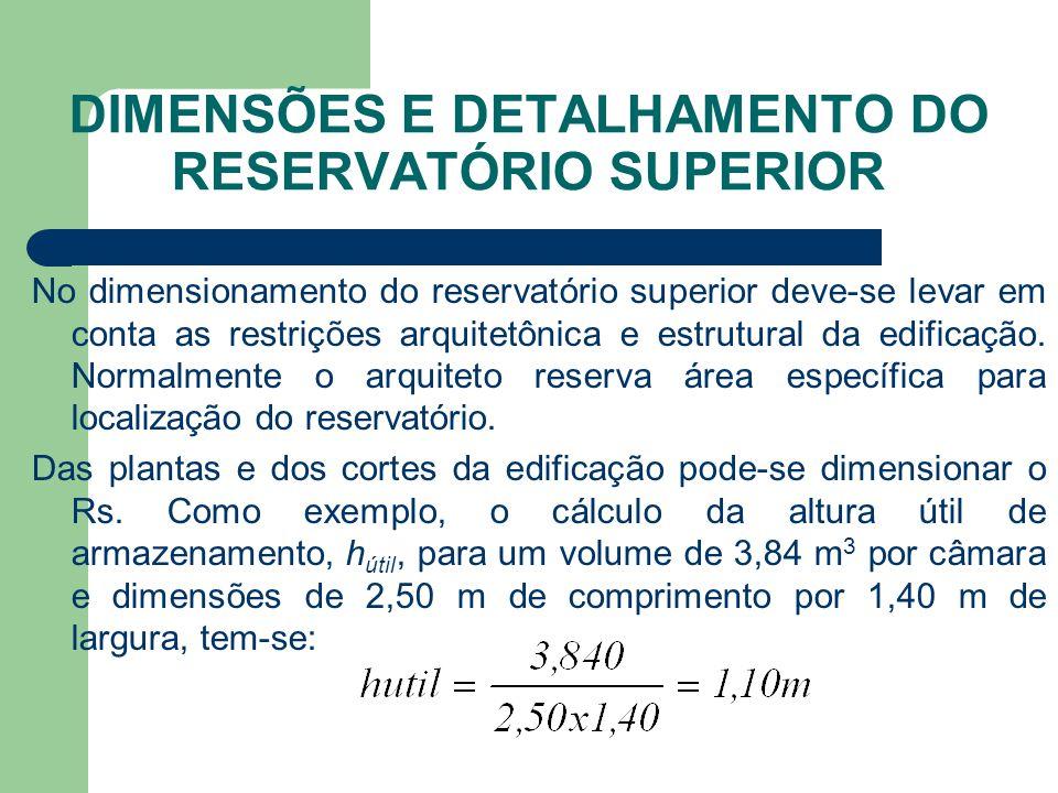 DIMENSÕES E DETALHAMENTO DO RESERVATÓRIO SUPERIOR