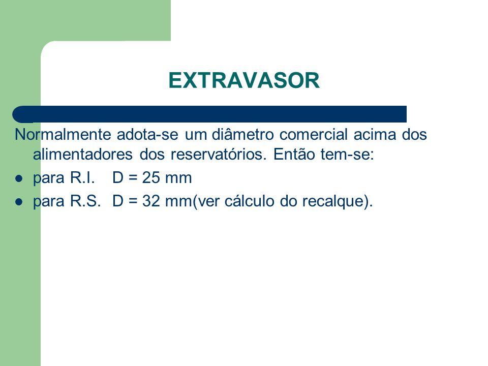 Extravasor Normalmente adota-se um diâmetro comercial acima dos alimentadores dos reservatórios. Então tem-se: