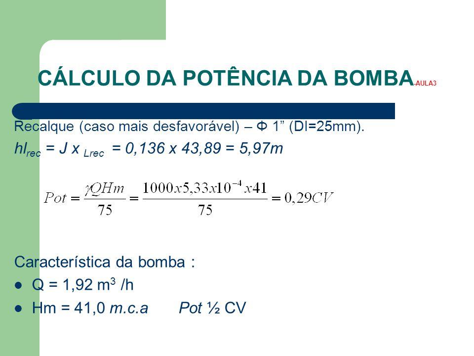 CÁLCULO DA POTÊNCIA DA BOMBA-AULA3