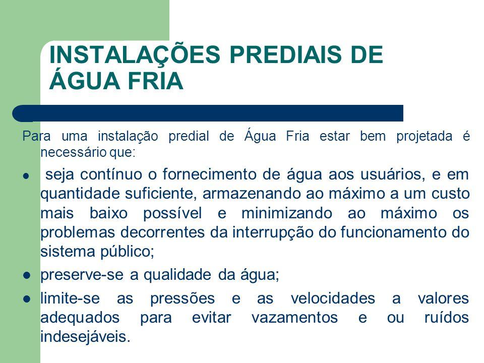 INSTALAÇÕES PREDIAIS DE ÁGUA FRIA