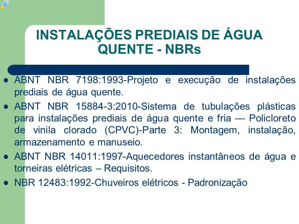 INSTALAÇÕES PREDIAIS DE ÁGUA QUENTE - NBRs