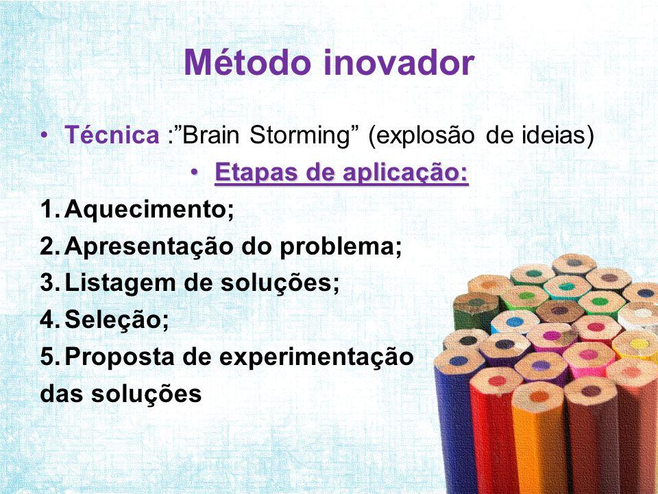 Método inovador Técnica : Brain Storming (explosão de ideias)
