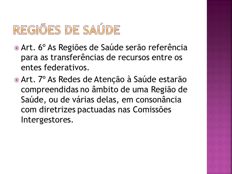 REGIÕES DE SAÚDE Art. 6º As Regiões de Saúde serão referência para as transferências de recursos entre os entes federativos.