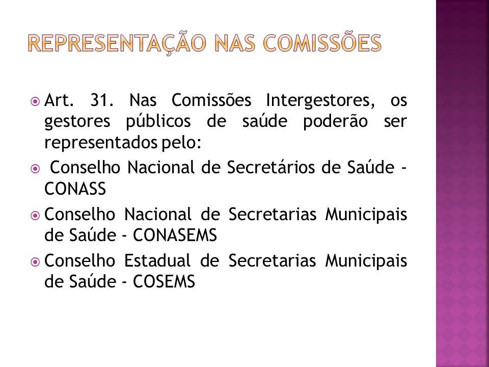 Representação nas comissões