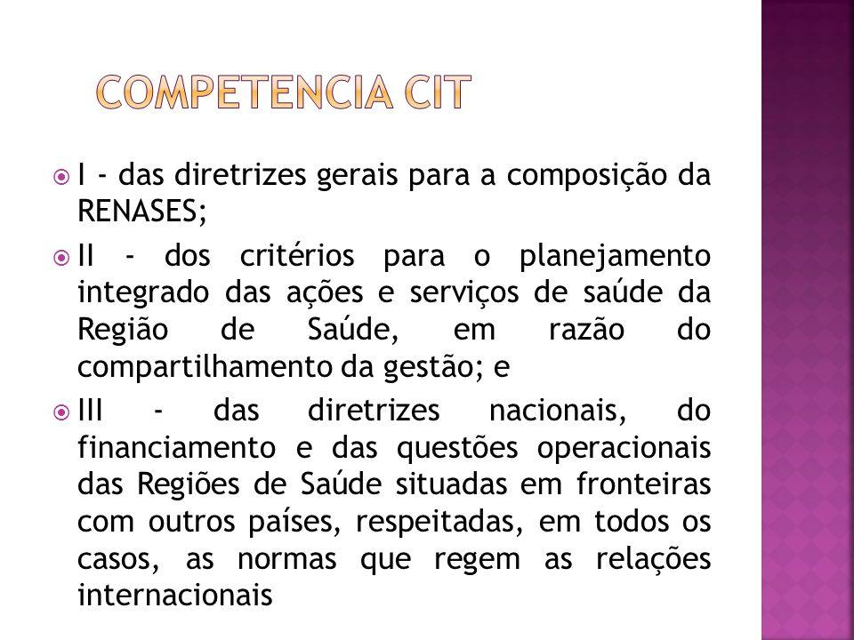 Competencia cit I - das diretrizes gerais para a composição da RENASES;