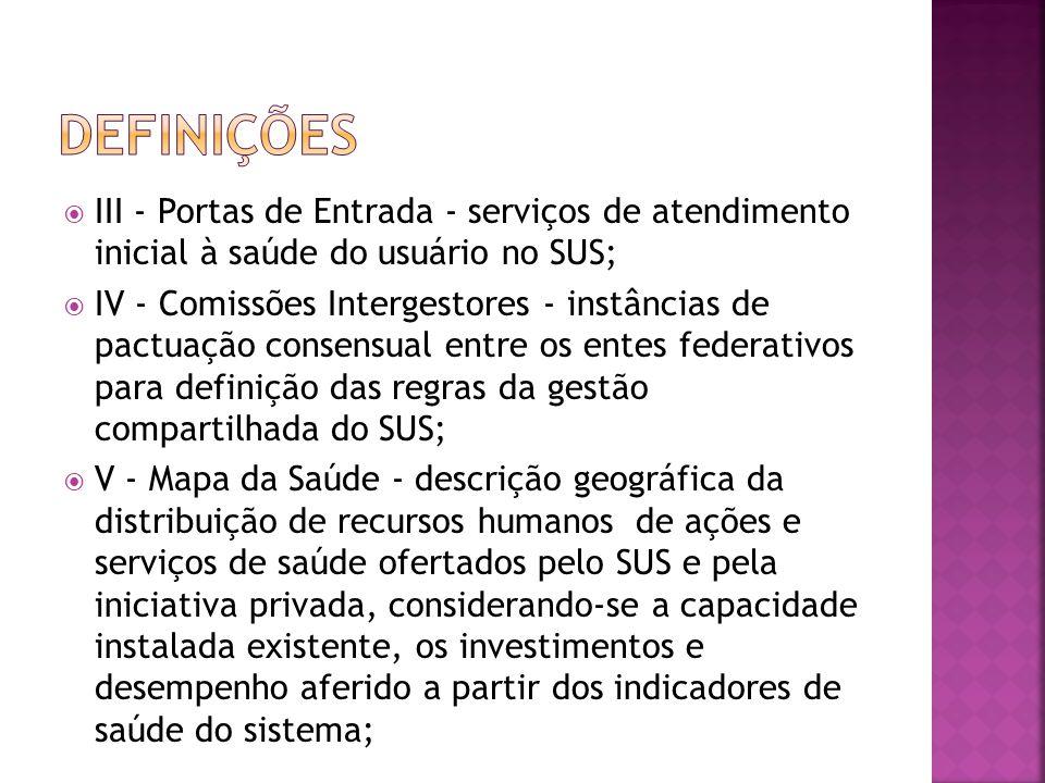 Definições III - Portas de Entrada - serviços de atendimento inicial à saúde do usuário no SUS;