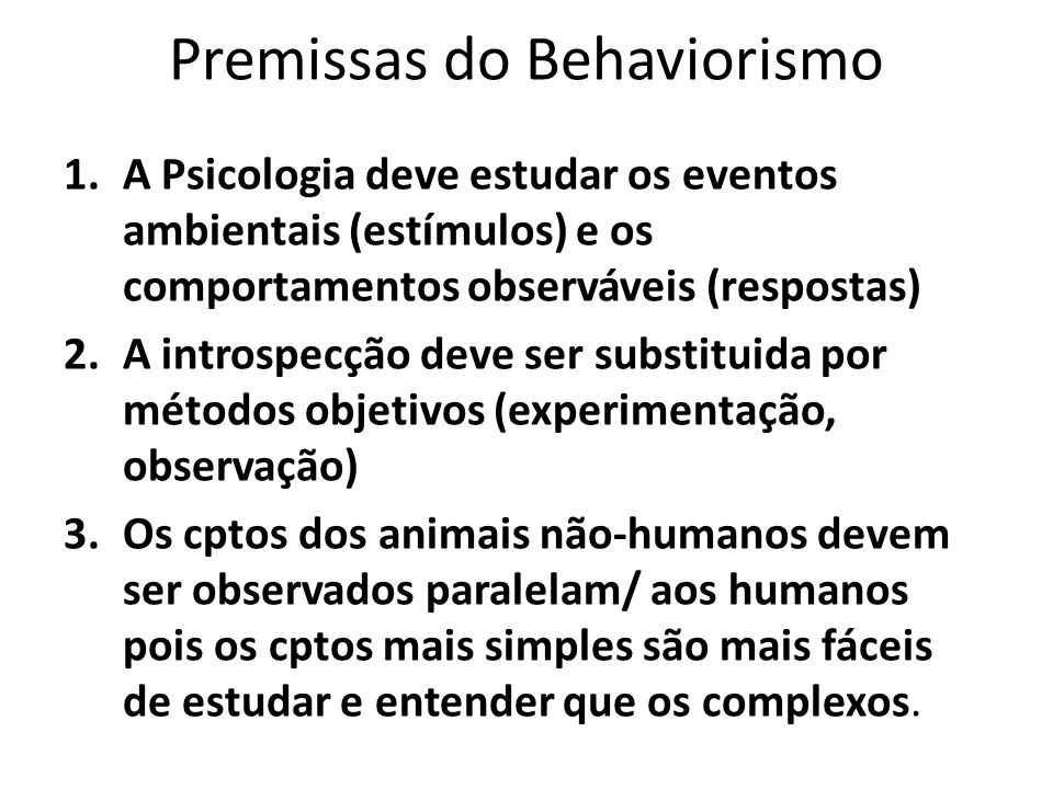 Premissas do Behaviorismo