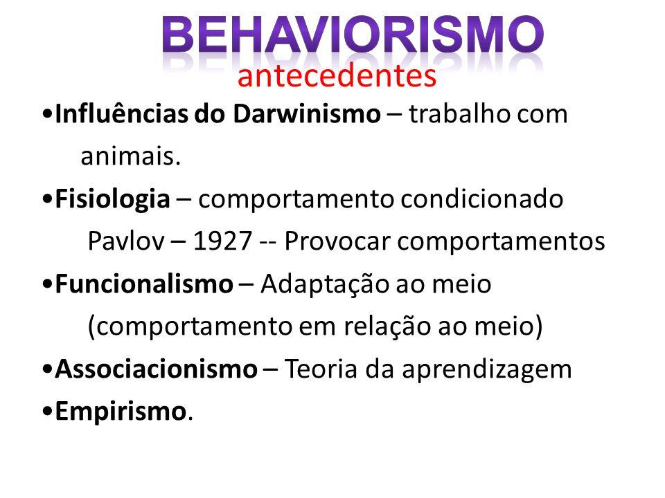 Behaviorismo antecedentes •Influências do Darwinismo – trabalho com
