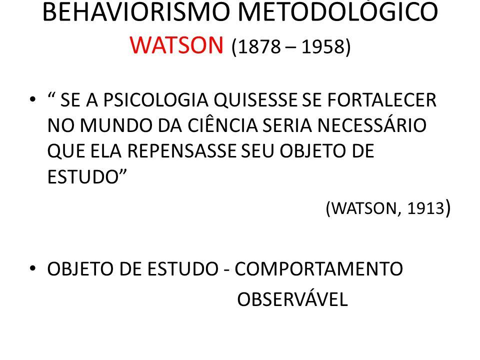 BEHAVIORISMO METODOLÓGICO WATSON (1878 – 1958)