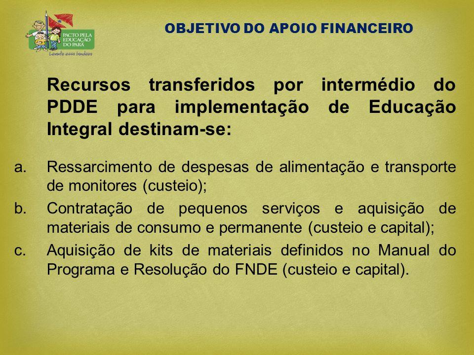 OBJETIVO DO APOIO FINANCEIRO