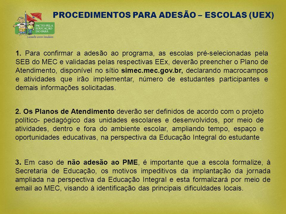 PROCEDIMENTOS PARA ADESÃO – ESCOLAS (UEX)