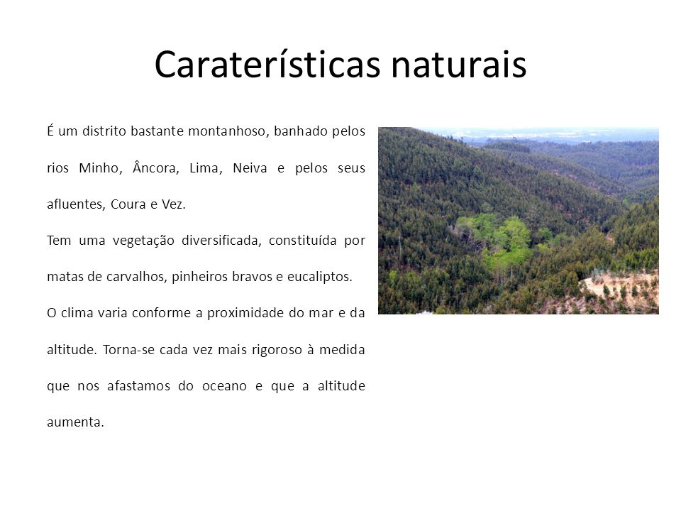 Caraterísticas naturais