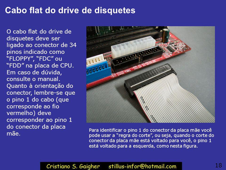 Cabo flat do drive de disquetes