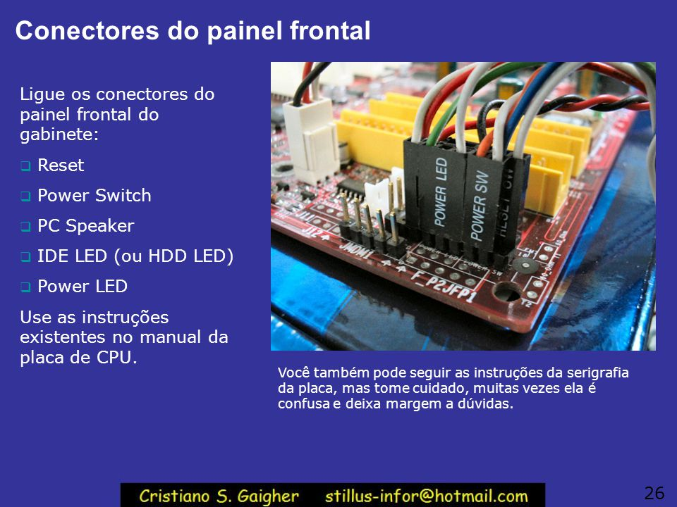 Conectores do painel frontal