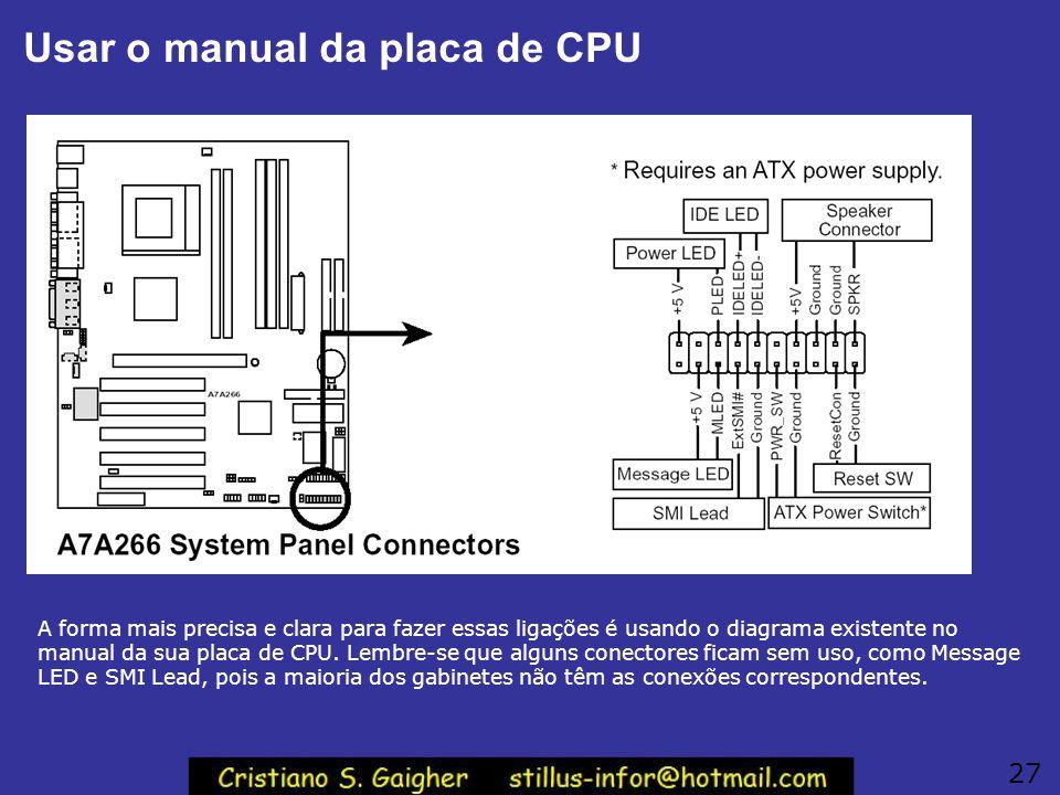 Usar o manual da placa de CPU