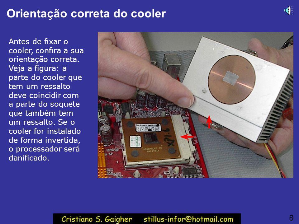 Orientação correta do cooler