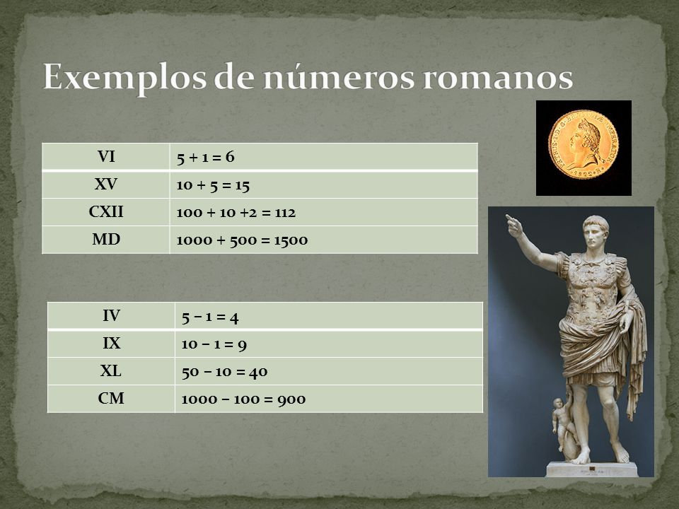 Exemplos de números romanos