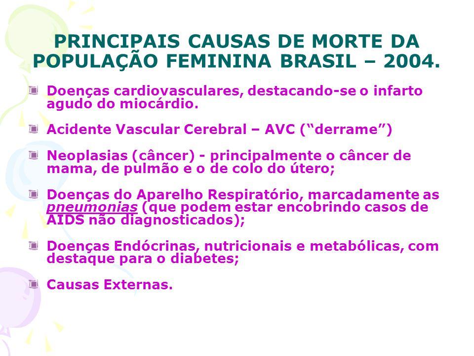 PRINCIPAIS CAUSAS DE MORTE DA POPULAÇÃO FEMININA BRASIL – 2004.