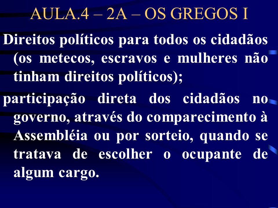 AULA.4 – 2A – OS GREGOS I Direitos políticos para todos os cidadãos (os metecos, escravos e mulheres não tinham direitos políticos);
