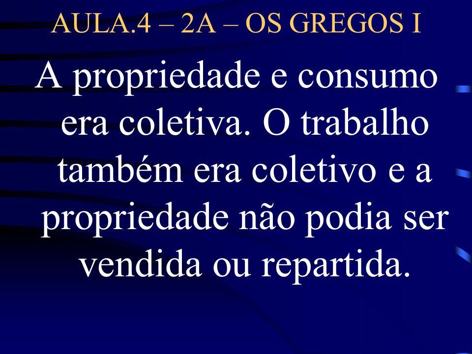 AULA.4 – 2A – OS GREGOS I A propriedade e consumo era coletiva.