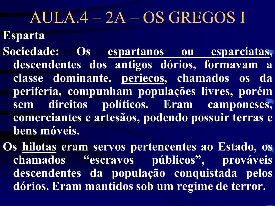 AULA.4 – 2A – OS GREGOS I Esparta